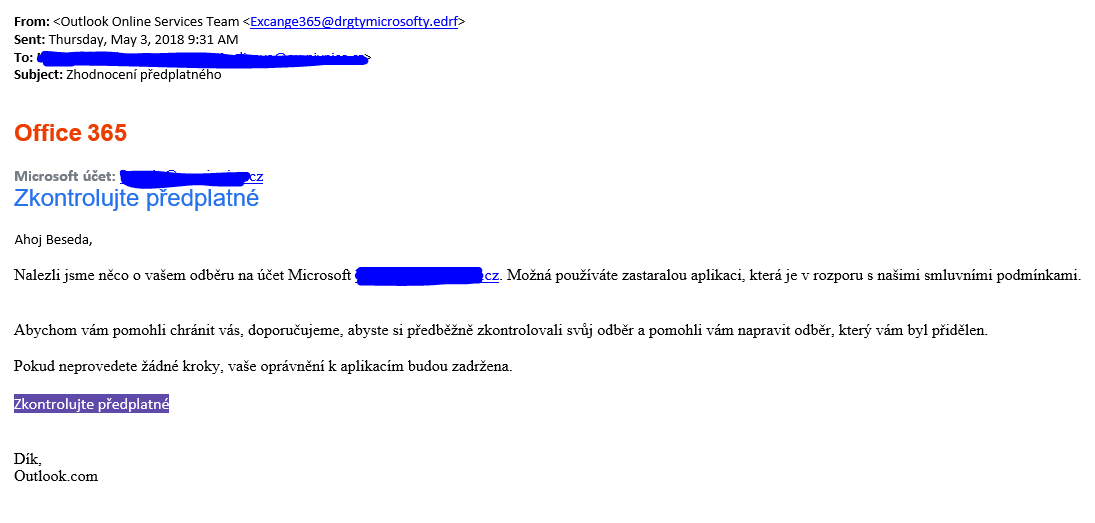 Pozor na podvodný email.